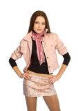 Het meisje in een korte rok royalty-vrije stock fotografie