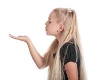 Het meisje in een profiel Stock Foto