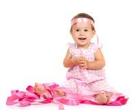 Het meisje in een roze kleding Stock Afbeelding