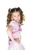 Het meisje in een roze kleding Stock Afbeeldingen