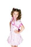 Het meisje in een roze kleding Stock Fotografie