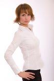 Het meisje in een wit overhemd Stock Fotografie