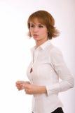 Het meisje in een wit overhemd Stock Foto