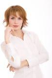 Het meisje in een wit overhemd Royalty-vrije Stock Afbeeldingen