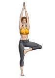 Het meisje in een yogaboom stelt (Vrikshasana) Royalty-vrije Stock Foto's