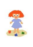 Het meisje in een zandbak Stock Afbeeldingen