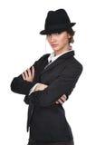 Het meisje in een zwart kostuum royalty-vrije stock afbeeldingen