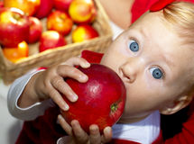 Het meisje eet appel Stock Afbeeldingen