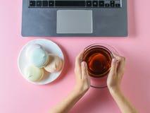 Het meisje eet een blauwe heemst met thee voor de computer op een roze lijst De mening vanaf de bovenkant Het gebruik als patroon Stock Afbeeldingen