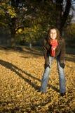 Het meisje en de bladeren Stock Afbeelding