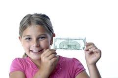Het meisje en de dollarrekeningen van de school Stock Afbeeldingen
