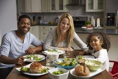 Het meisje en de gemengde rasouders dineren in hun keuken, aan camera stock fotografie