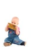Het meisje en de gift van de baby die op wit wordt geïsoleerd Royalty-vrije Stock Afbeelding