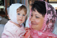 Het meisje en de grootmoeder. Royalty-vrije Stock Foto