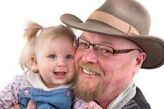 Het Meisje en de Grootvader van de baby Stock Foto's