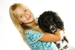 Het meisje en de hond Royalty-vrije Stock Fotografie