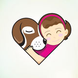 Het meisje en de hond omhelzen liefde Stock Afbeelding