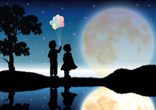 Het meisje en de jongen keken mooi maanlicht Vector graphhics Stock Afbeelding