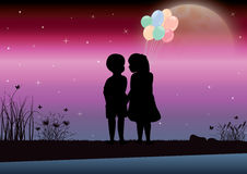 Het meisje en de jongen keken mooi maanlicht Vector graphhics Royalty-vrije Stock Afbeeldingen