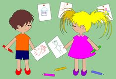 Het meisje en de jongen trekken Stock Foto
