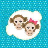 Het meisje en de jongen van de aap in liefde; beeldverhaal achtergrond Stock Foto's