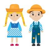 Het meisje en de jongen van Festajunina in traditioneel feestelijk vlak kostuumpictogram, beeldverhaalstijl Geïsoleerdj op witte  vector illustratie