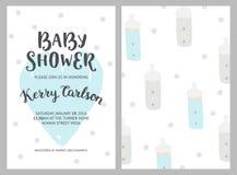 Het meisje en de jongensuitnodigingen van de babydouche royalty-vrije illustratie