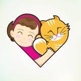 Het meisje en de kat omhelzen liefde Stock Afbeeldingen