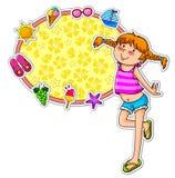Het meisje en de pictogrammen van de zomer Stock Foto