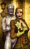 Het meisje en de robot van Steampunk Royalty-vrije Stock Afbeeldingen
