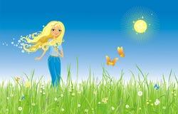 Het meisje en de vlinder stock illustratie