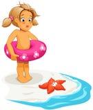 Het meisje en de zeester van de baby op strand Stock Illustratie