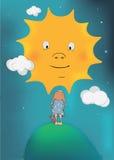 Het meisje en de zon stock illustratie