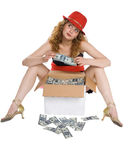 Het meisje en een doos met geld royalty-vrije stock afbeelding