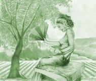 Het meisje en het gebied Royalty-vrije Illustratie