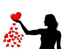 Het meisje en het hart van het silhouet Stock Foto