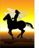 Het meisje en het paard Stock Fotografie