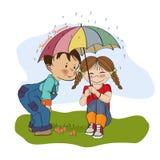 Het meisje en weinig jongen zijn beste vrienden vector illustratie