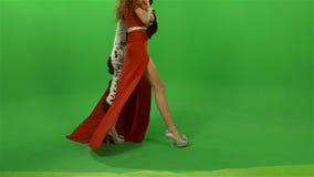 Het meisje gaat in een rode kleding en bois voorbij stock footage