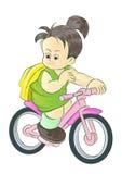 Het meisje gaat naar school berijdende fiets Stock Foto