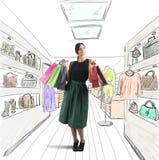 Het meisje gaat winkelend Stock Foto