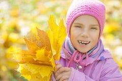 Het meisje in gele laag verzamelt gele esdoornbladeren Stock Fotografie