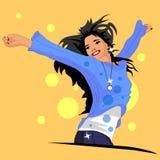Het meisje is gelukkig en blij stock illustratie