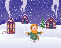 Het meisje geniet van de sneeuw Royalty-vrije Stock Afbeeldingen
