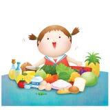 Het meisje geniet vijf voedsel van groep Vector Illustratie