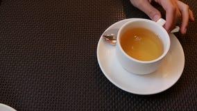 Het meisje giet thee van een kleine witte porseleintheepot in een weinig witte mok stock video