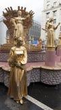 Het meisje in gouden make-up Royalty-vrije Stock Foto