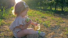 Het meisje heeft pret, weinig leuk meisje die met vruchten in handen op gras tussen rijen in tuin zitten stock videobeelden