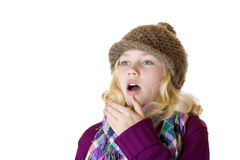 Het meisje heeft snuifje en niest Royalty-vrije Stock Foto