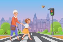 Het meisje helpt oude dame om de weg te kruisen stock illustratie